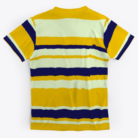 Yellow Blue Abstract Stripes Standard T-Shirt Back