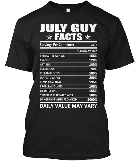 July Guy Facts Shirt Black T Front