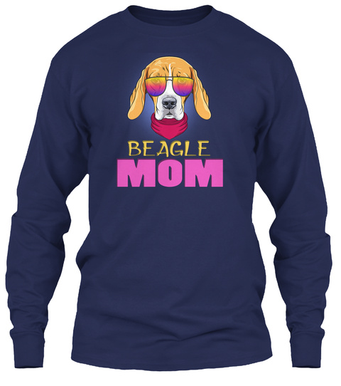Hipster Serious Dog Beagle Mom In Glasse Navy T-Shirt Front