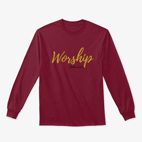 Worship Series   Black Font Cardinal Red T-Shirt Front