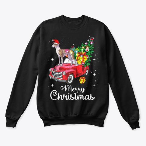 Whippet Christmas Shirt Sweater Gift Black T-Shirt Front