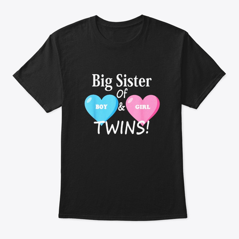 Big Sister Of Boy And Girl Twins Sibling Black T-Shirt Front