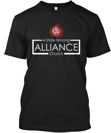 4state Hmong Alliance Church Black T-Shirt Front