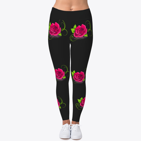 Pretty As A Rose Leggings For Women Black T-Shirt Front
