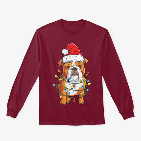 English Bulldog Santa Christ Tree Lights Cardinal Red T-Shirt Front