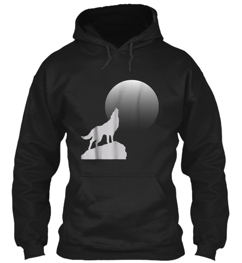 Moon Wolf Shirt, Cool Howling Wolf T Shi Black T-Shirt Front
