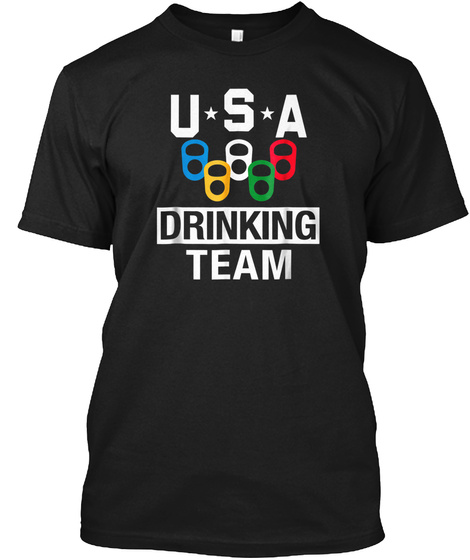 Usa Drinking Team Shirt Beer Party T Shi Black T-Shirt Front