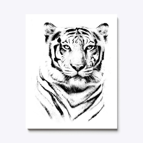 Tiger Portait White T-Shirt Front