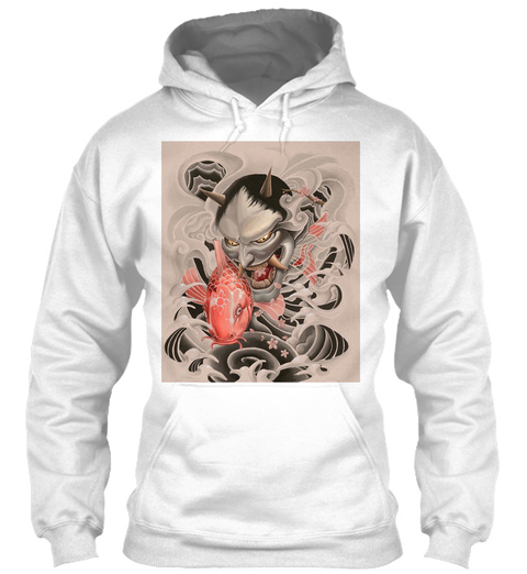 Koi Oni Custom Graphic Hoodie White Sweatshirt Front