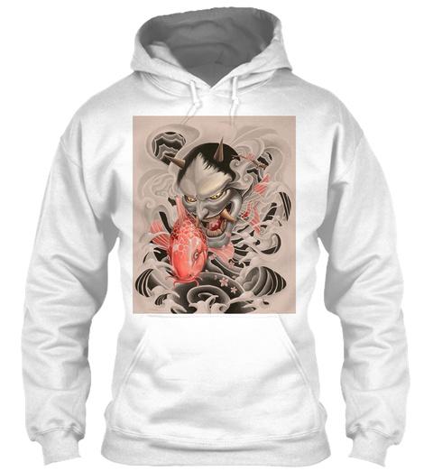 Koi Oni Custom Graphic Hoodie White Sweatshirt Front