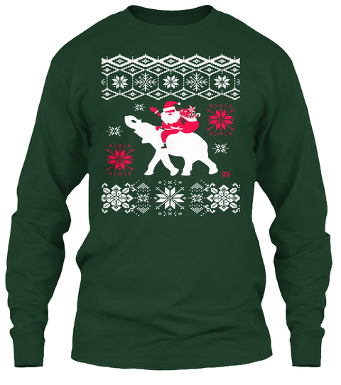 Ugly Christmas Elephant Lovers Sweater Forest Green Long Sleeve T-Shirt Front