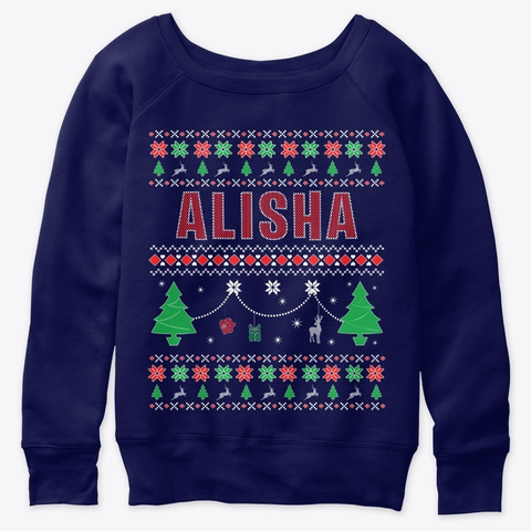 Xmas Themed Personalized For Alisha Navy  T-Shirt Front