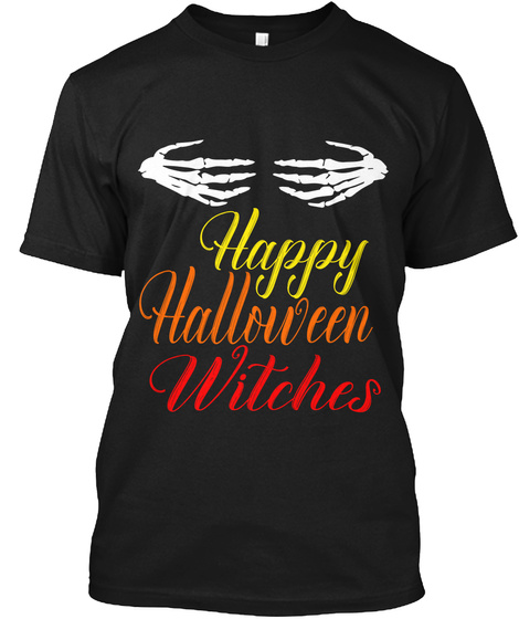 Happy Halloween Witches Black Camiseta Front