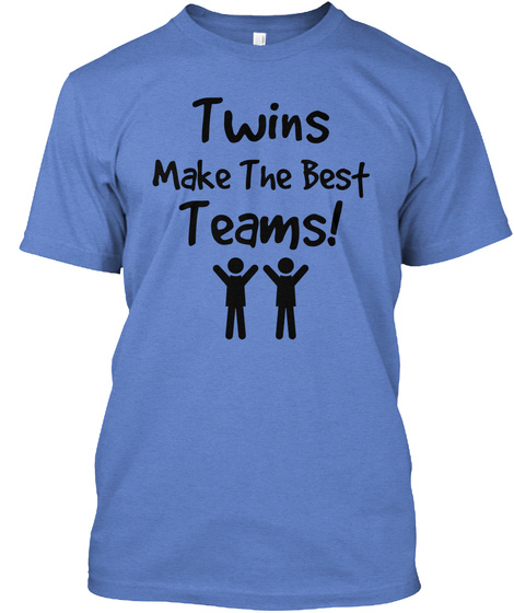 Twins Make The Best Teams! Heathered Royal  T-Shirt Front