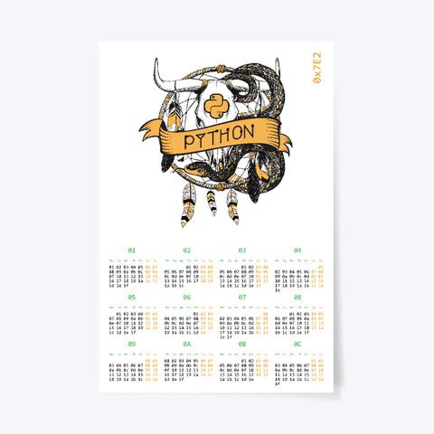 White Python Hexadec Calendar 2018 (Eu) White T-Shirt Front