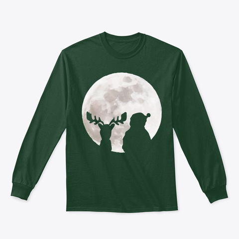 Christmas Moon Forest Green T-Shirt Front