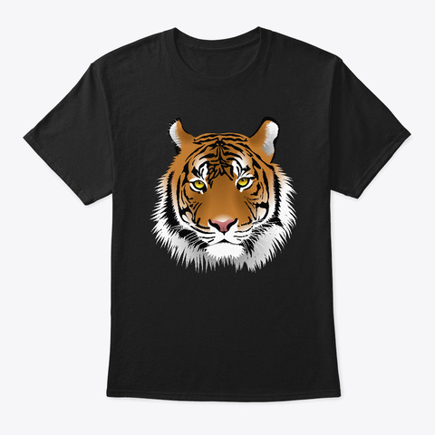 Cool Wild Tiger Endangered Animal Cat Black T-Shirt Front