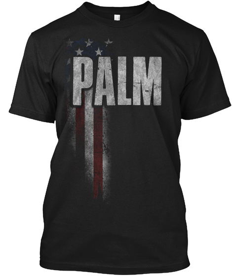 Palm Family American Flag Black T-Shirt Front
