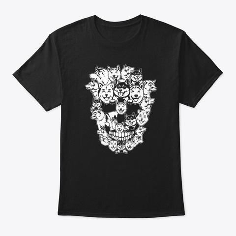 Funny Dogs Skull Shiba Inu Dog Halloween Black T-Shirt Front