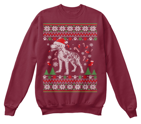 Ugly Great Dane Christmas Sweater Burgundy T-Shirt Front