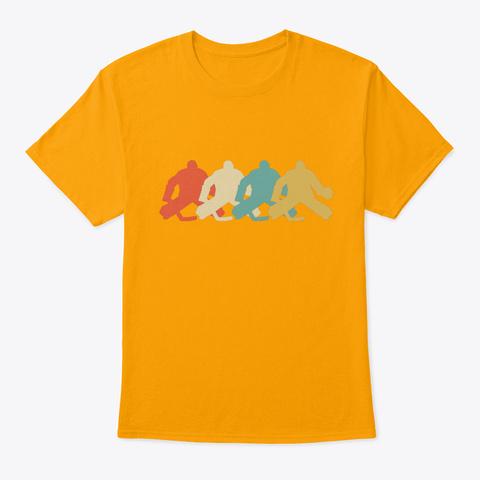 Retro Hockey Goalie Pop Art Gold T-Shirt Front