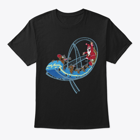 Christmas Roller Coaster Amusement Park Black T-Shirt Front