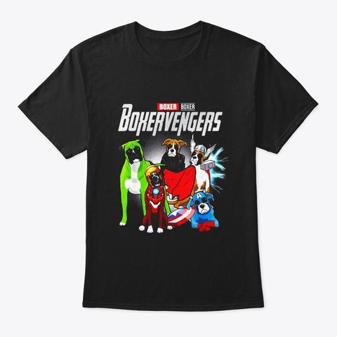 Boxervengers T Shirt Funny Dog Boxer Black T-Shirt Front