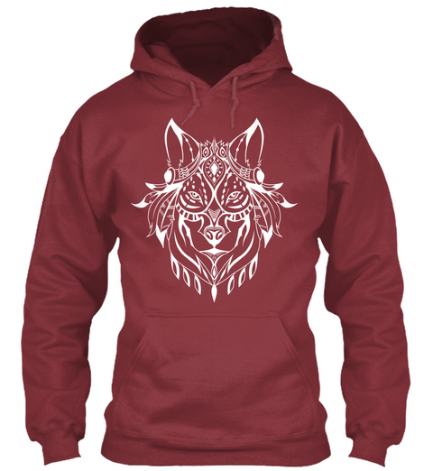 Ethnic White Wolf Hoodie Maroon T-Shirt Front
