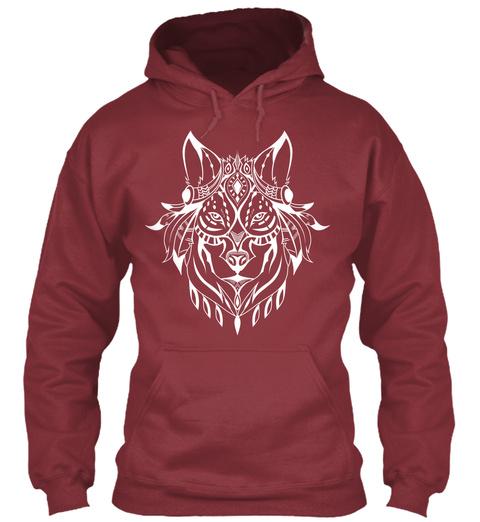 Ethnic White Wolf Hoodie Maroon Camiseta Front