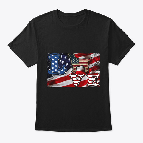 4th Of July Flag  Love Dog Tee Black T-Shirt Front