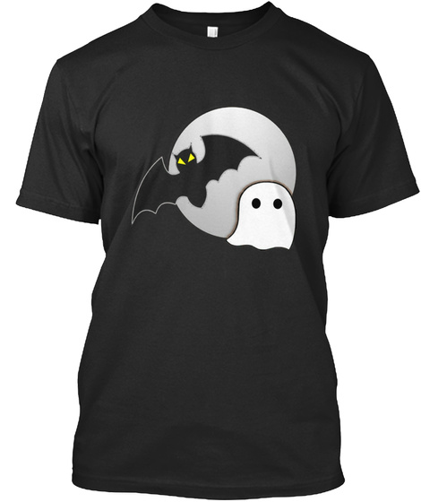 Halloween Tshirt Ghost And Bat Horror Black T-Shirt Front