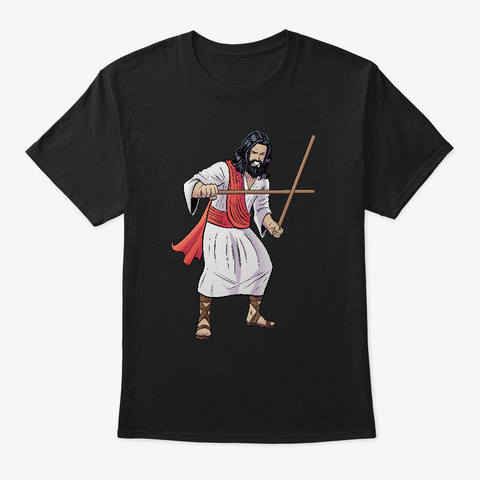Jesus Loves Filipino Martial Arts Black T-Shirt Front