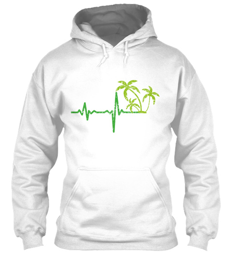 Gift Heartbeat Vacation Palm Trees White T-Shirt Front
