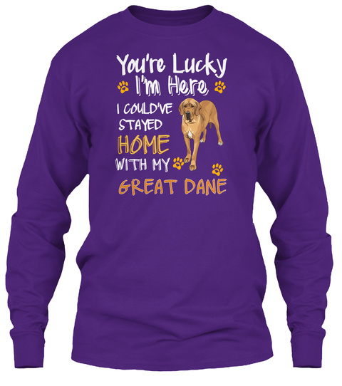 Lucky Have Home Great Dane Purple T-Shirt Front