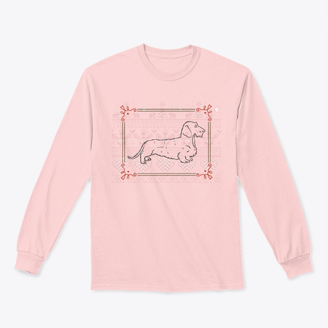 Wire Dachshund Holiday Tee Light Pink T-Shirt Front