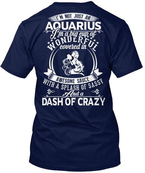 I'm Not Just An Aquarius I'm A Big Cup Of Wonderful Covered In Awesome Sauce With A Splash Of Sassy And A Dash Of Crazy Navy T-Shirt Back