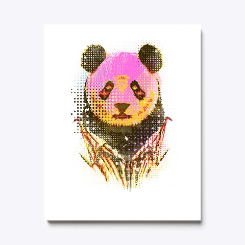 Dandy Panda Canvas Print White T-Shirt Front
