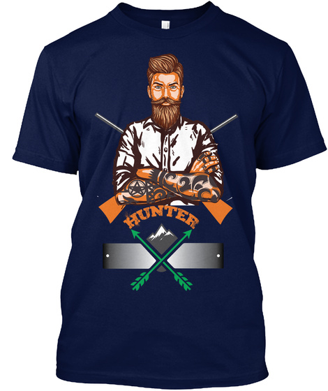 Hunter Man Navy T-Shirt Front