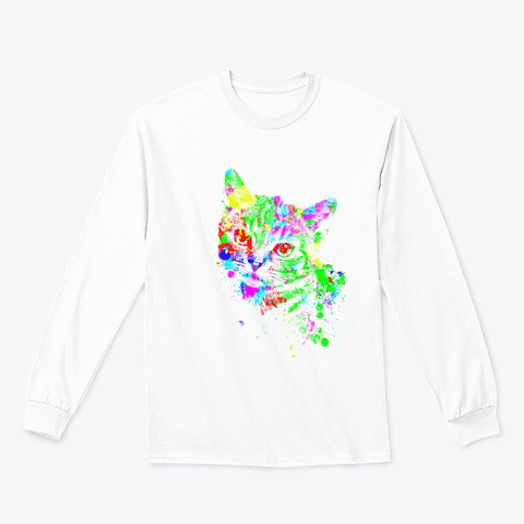 Colorful Kitten White T-Shirt Front