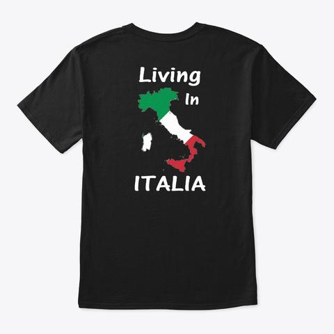 Made In Venezuela Living In Italia Black T-Shirt Back