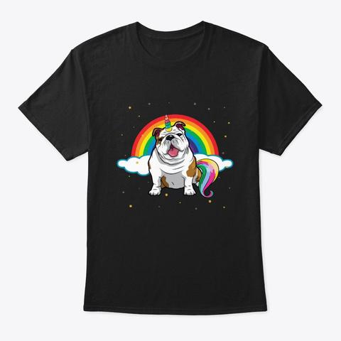 English Bulldog Unicorn Rainbow Dog Love Black T-Shirt Front