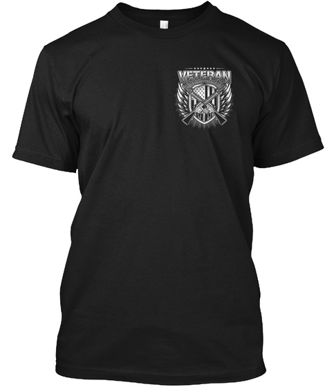 A Veteran On American Soil Black T-Shirt Front