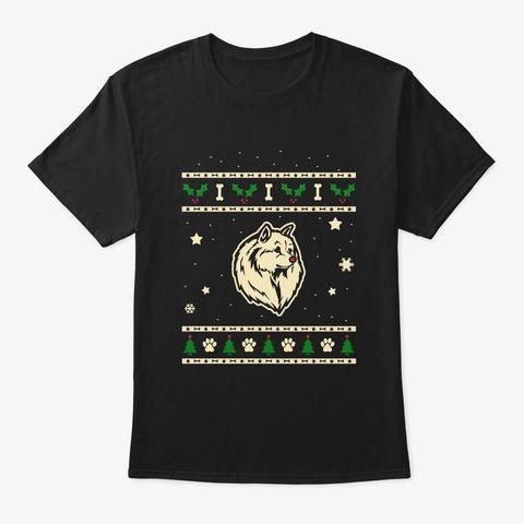 Christmas Volpino Italiano Gift Black T-Shirt Front