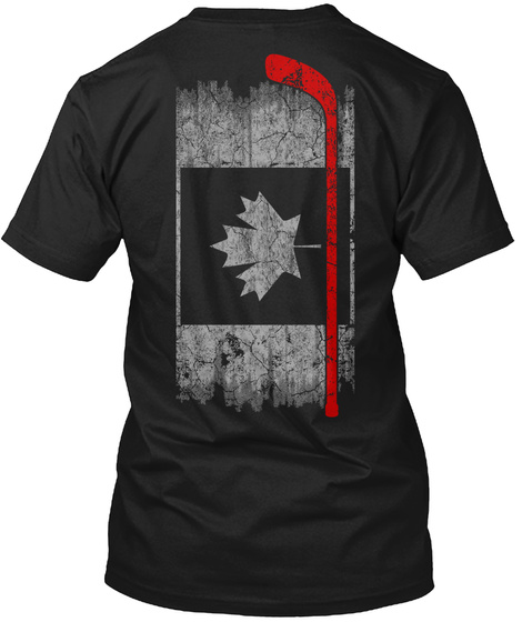 Hockey   Canada Flag Black T-Shirt Back