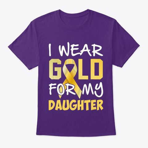 Childhood Cancer Awareness Gold For My D Purple T-Shirt Front