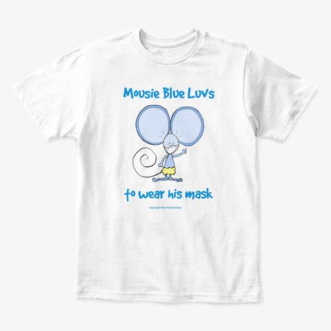Mousie Blue L Uvs His Mask White T-Shirt Front