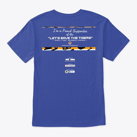 I Love Tigers (Paw) Deep Royal T-Shirt Back