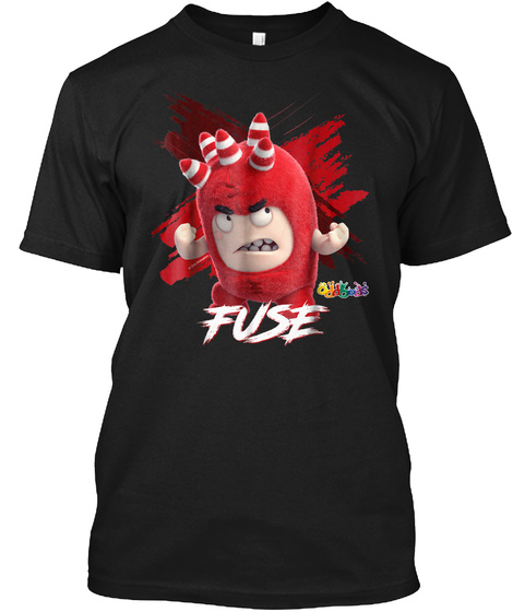 Oddbods Fuse Is Angry T Shirt Black T-Shirt Front
