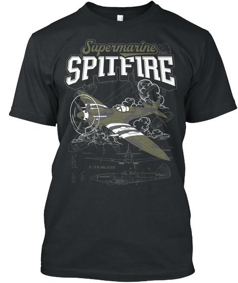 Supermarine Spitfre Black T-Shirt Front