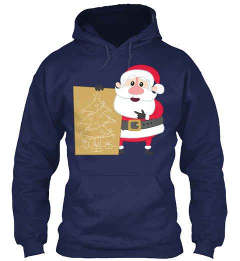Santa Claus Christmas Day Happy New Year Navy Sweatshirt Front